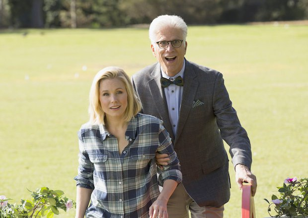 "THE GOOD PLACE -- ""Everything Is Fine"" Episode 101-- Pictured: (l-r) Kristen Bell as Eleanor, Ted Danson as Michael -- (Photo by: Justin Lubin/NBC)"